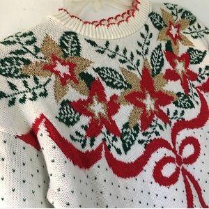 VTG Christmas Poinsettia Sweater
